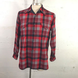 Pendleton 100% Wool Tartan Plaid Button Up Shirt L